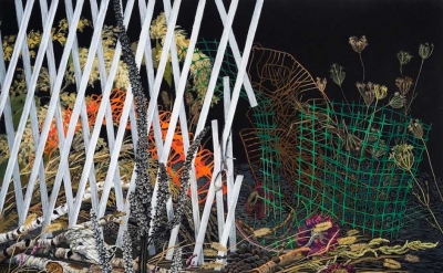 Joan Wadleigh Curran, White Fence, gouache on paper, 39.5 x 50.5 inches (courtesy of the artist)