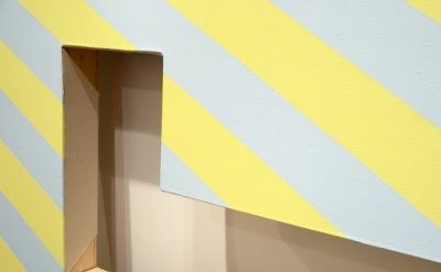 Mark Dagley, Janet's Dilemma (detail), 2012, acrylic on canvas with notched hole