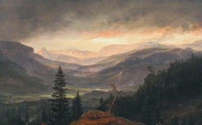(detail) Johan Christian Dahl, View over Hallingdal, 1844 (Metropolitan Museum,