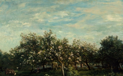 (detail) Charles François Daubigny, Apple Blossoms, 1873 (The Metropolitan Museum of Art, New York, Bequest of Collis P. Huntington, 1900 © The Metropolitan Museum of Art/Art Resource/Scala, Florence)
