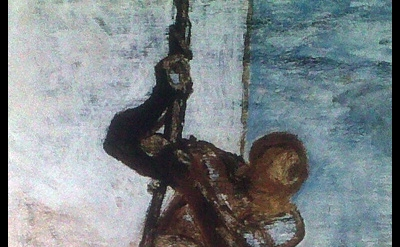 (detail) Honoré Daumier, Man on a Rope, c. 1858, oil on canvas, 43 1/2 x 28 1/2