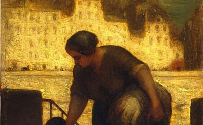 (detail) Honoré Daumier, The Laundress, 1861-63, oil on wood, 19 1/4 x 13 inches