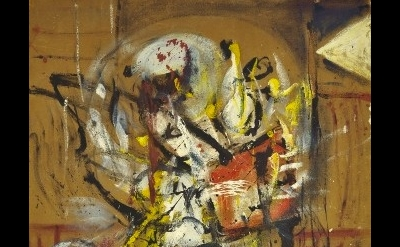 (detail) Alan Davie, opus O.107 Bubble Figure No.1, 1954, oil on masonite, 46 x