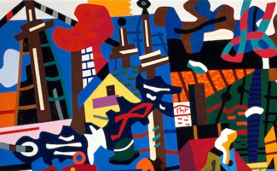 (detail) Stuart Davis, Swing Landscape, 1938 (© Estate of Stuart Davis/Licensed