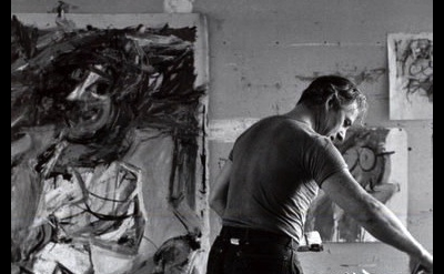 (detail) Tony Vaccaro, Willem De Kooning painting in East Hampton, L.I. studio,