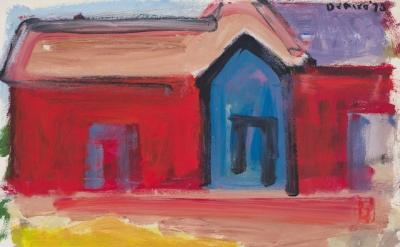 Robert De Niro, Sr., Red House with Blue Door, 1970 (courtesy of DC Moore Galler