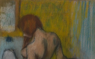 (detail) Edgar Degas, Woman With a Towel, 1894 or 1898, pastel on cream-colored