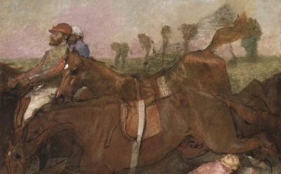 (detail) Edgar Degas, Scene from the Steeplechase: The Fallen Jockey, 1866 (Nati