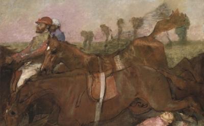(detail) Edgar Degas, Scene from the Steeplechase: The Fallen Jockey, 1866 (Nati
