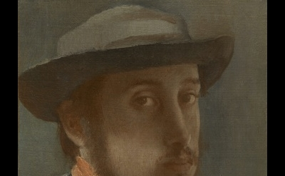 (detail) Edgar Degas, Self-Portrait, c. 1857–1858, oil on paper mounted on canva