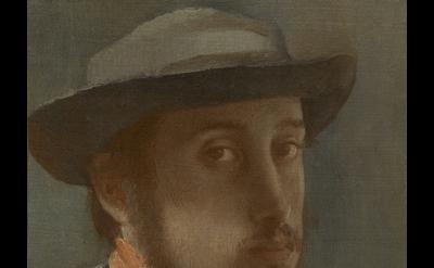 (detail) Edgar Degas, Self-Portrait, c. 1857–1858, oil on paper mounted on canva