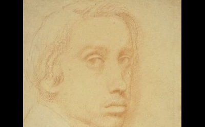 (detail)Edgar Degas, Self-Portrait, c. 1855-57, red chalk on laid paper (courtes