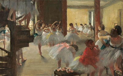 Edgar Degas, The Dance Class, c. 1873, oil on canvas (National Gallery of Art, Washington, Corcoran Collection, William A. Clark Collection)