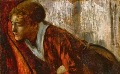 (detail) Edgar Degas, Melancholy, late 1860s, oil on canvas, 7 1/2 x 9 3/4 inche