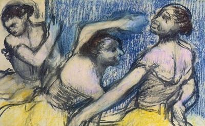 (detail) Edgar Degas, Three Dancers In Yellow Skirts, 1900