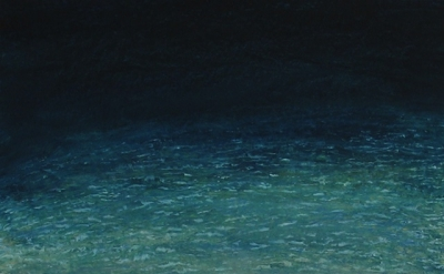 (detail) Pat de Groot, sand and water, 2006, oil on board, 12 x 11 inches (court