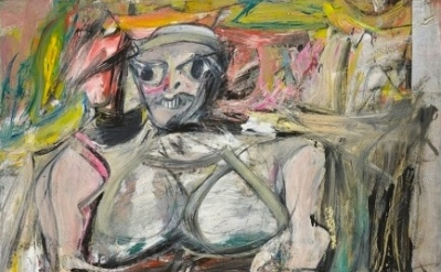 (detail) Willem De Kooning, Woman I, 1950–52, oil on canvas 6' 3 7/8 x 58 inches