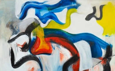 "(detail) Willem de Kooning, Untitled V 1982, Oil on canvas, 6' 8"" x 70"", The Mus"