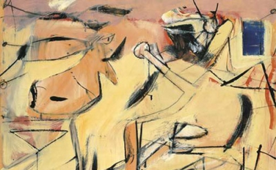 Willem De Kooning, Sail Cloth, 1949, oil, enamel, charcoal, and graphite on board, 27 x 32 inches (courtesy of Lévy Gorvy, New York)