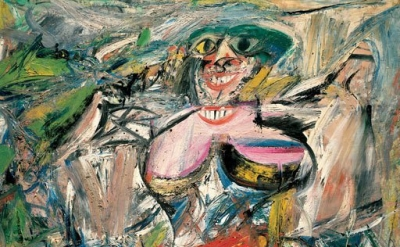 (detail) Willem de Kooning, Woman and Bicycle, 1952-53, oil, enamel, and charcoa