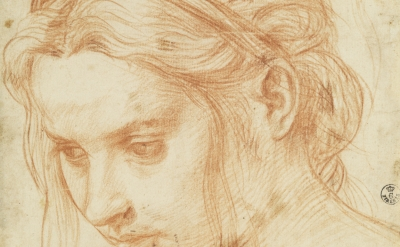 (detail) Andrea del Sarto, Study of the Head of a Young Woman, ca. 1523, red cha