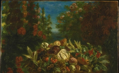 Eugène Delacroix, Basket of Fruit in a Flower Garden, 1848-9, oil on canvas (Phi