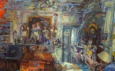 (detail) Catherine Goodman, London Interior I , 2009-10 oil on canvas 151.1 x 19