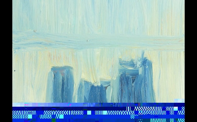 (detail) Martha Diamond, Blue Wash, 2011–14, oil on panel, 12 x 10 inches (court