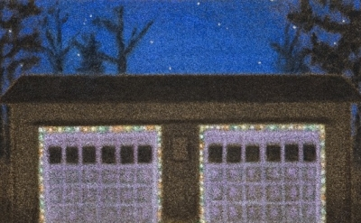 (detail) Jane Dickson, XMas 2-Car Garage, 2006–08, oil on astroturf, 40 x 56 inc