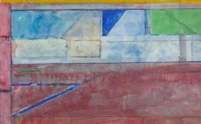 (detail) Richard Diebenkorn, Untitled #26, 1984. Gouache, acrylic, and crayon on