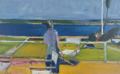 (detail) Richard Diebenkorn, Figure on a Porch, 1959, oil on canvas, 57 x 62 inc