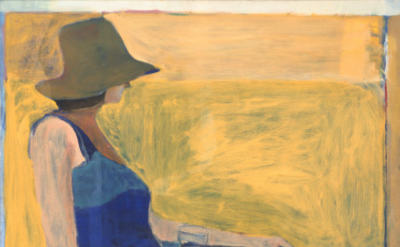 Richard Diebenkorn, Seated Figure with Hat, 1967, oil on canvas, 57 3/4 × 61 3/4 inches (National Gallery of Art, Washington D.C.)