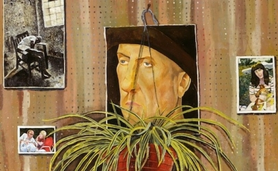 (detail) Simon Dinnerstein, The Fulbright Triptych, oil on wood panels, 14 feet