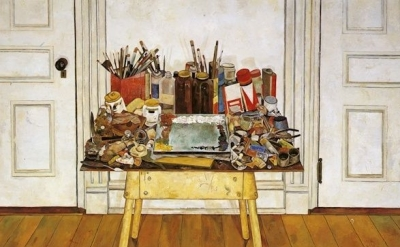 (detail) Simon Dinnerstein, Studio Still Life, 1976, oil on wood panel, 48 x 63