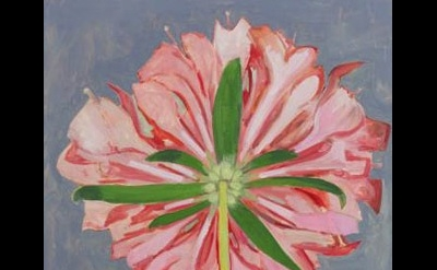 (detail) Lois Dodd, Pink Scabiosa, Back View, 2013, oil on panel, 20 x 18.25 inc