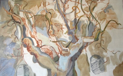 Lois Dodd, Apple Tree, 1964, oil on linen, 54 x 74 inches (© Lois Dodd, courtesy