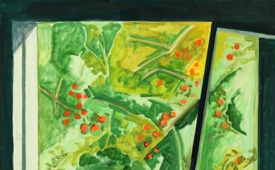 Lois Dodd, Apple Tree through Barn Window, 2015, oil on masonite, 16 1/8 x 19 7/