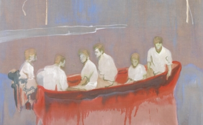(detail) Peter Doig, Figures in a Red Boat (© and courtesy of the artist)