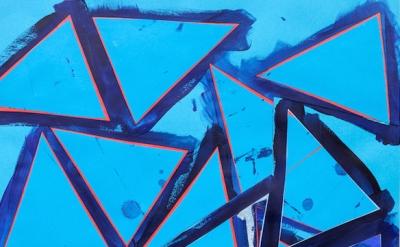(detail) Lecia Dole-Recio, Untitled (bl.ppr.bl.trngls.rd.lns.), 2013, acrylic, s