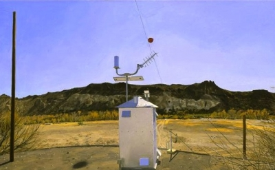 (detail) Rackstraw Downes, Water-Flow Monitoring Station on the Rio Grande Near
