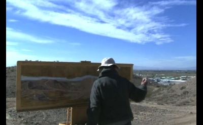 Rackstraw Downes painting on site, video capture (courtesy of Art:21)
