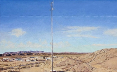 Rackstraw Downes, Sand Hills with Cell Tower, Presidio, TX, P.M., 2010, oil on c