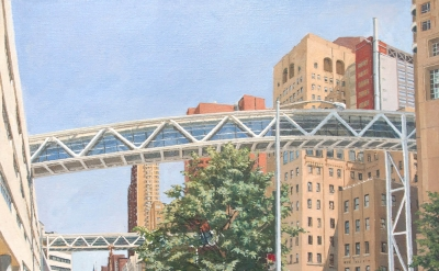 Rackstraw Downes, Columbia Presbyterian: Two Pedestrian Bridges Crossing Riverside Drive, 2013, oil on canvas, 28 x 31 inches (courtesy of Betty Cunningham Gallery)