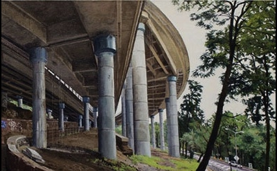 (detail) Rackstraw Downes, Under an Off-Ramp from the George Washington Bridge,