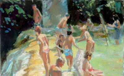 Grant Drumheller, Bathers at the Falls, 2013, 12 x 16 inches, oil on linen (cour