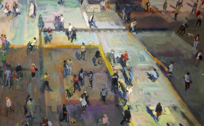 (detail) Grant Drumheller, Munich Crowd, 72 x 108 inches, acrylic on canvas (courtesy of the artist)