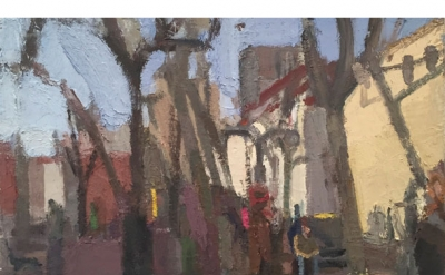 John Dubrow, Leaning Trees, Winter, 30 x 40 inches, oil on linen, 2015 (courtesy