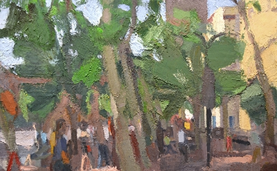 (detail) John Dubrow, Leaning Trees, Early Morning 2013-15 (courtesy of Lori Boo