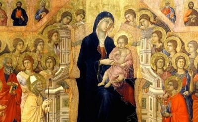 (detail) Duccio, Maesta, 1308–1311, Museo dell'Opera Metropolitana del Duomo, Si