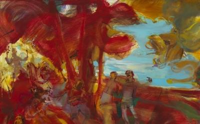 (detail) Angela Dufresne Rock Pastoral in Red, 2012 (courtesy Monya Rowe Gallery